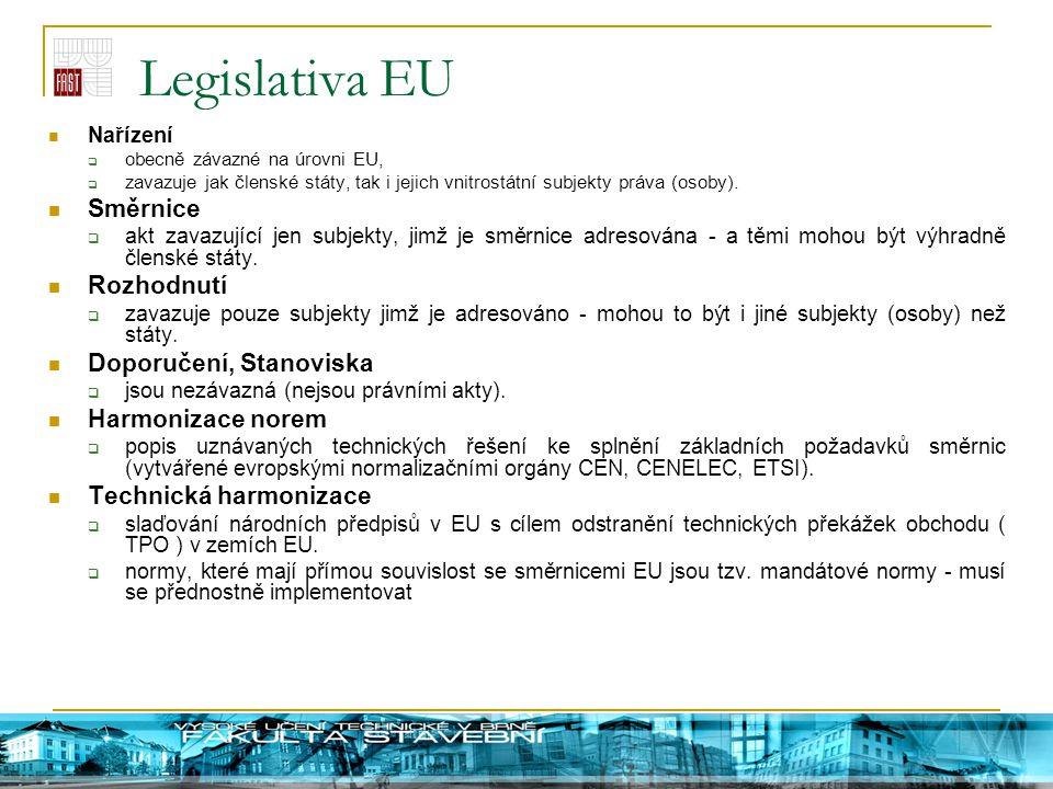 Legislativa EU Nařízení  obecně závazné na úrovni EU,  zavazuje jak členské státy, tak i jejich vnitrostátní subjekty práva (osoby). Směrnice  akt