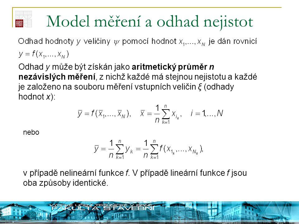 Model měření a odhad nejistot Odhad y může být získán jako aritmetický průměr n nezávislých měření, z nichž každé má stejnou nejistotu a každé je zalo