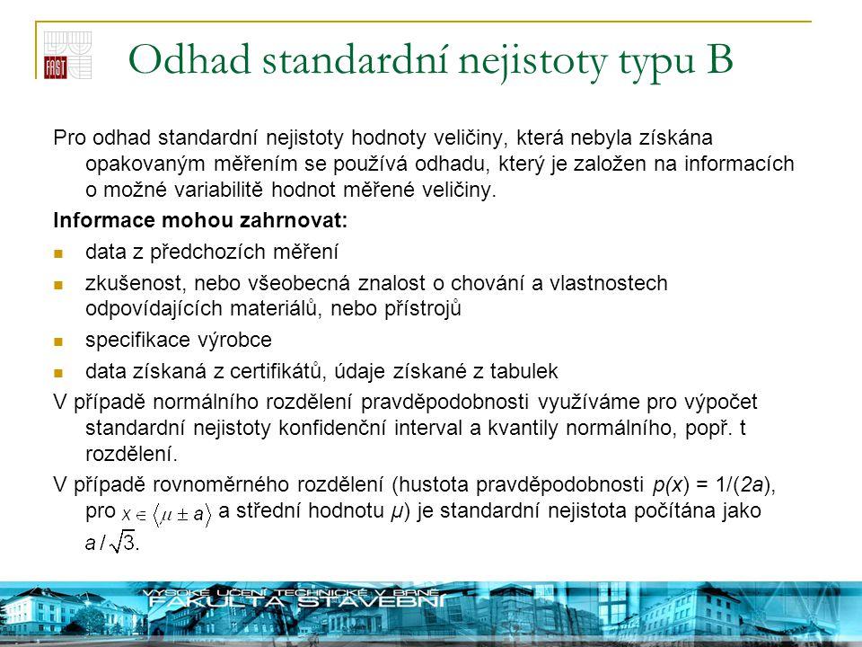 Odhad standardní nejistoty typu B Pro odhad standardní nejistoty hodnoty veličiny, která nebyla získána opakovaným měřením se používá odhadu, který je