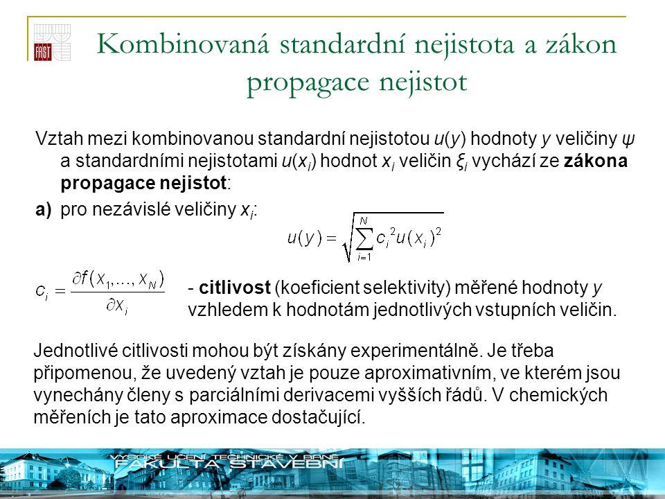 Kombinovaná standardní nejistota a zákon propagace nejistot Vztah mezi kombinovanou standardní nejistotou u(y) hodnoty y veličiny ψ a standardními nej