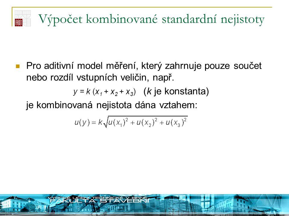 Výpočet kombinované standardní nejistoty Pro aditivní model měření, který zahrnuje pouze součet nebo rozdíl vstupních veličin, např. y = k (x 1 + x 2
