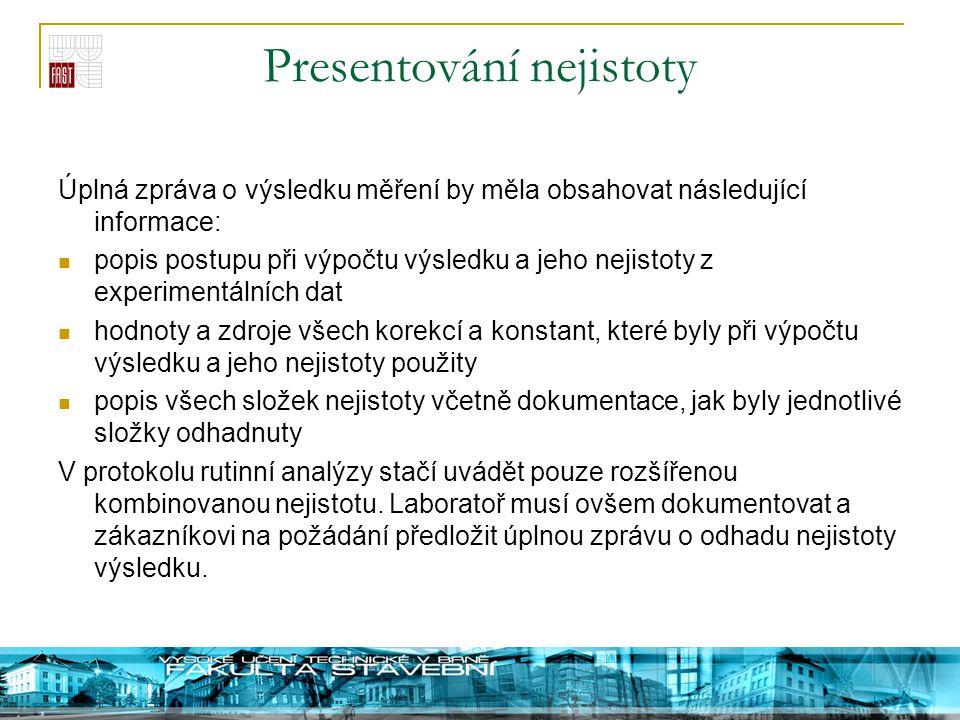 Presentování nejistoty Úplná zpráva o výsledku měření by měla obsahovat následující informace: popis postupu při výpočtu výsledku a jeho nejistoty z e