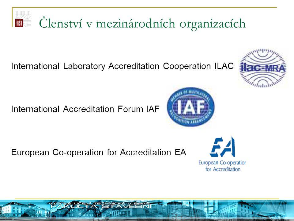 Členství v mezinárodních organizacích International Laboratory Accreditation Cooperation ILAC International Accreditation Forum IAF European Co-operat