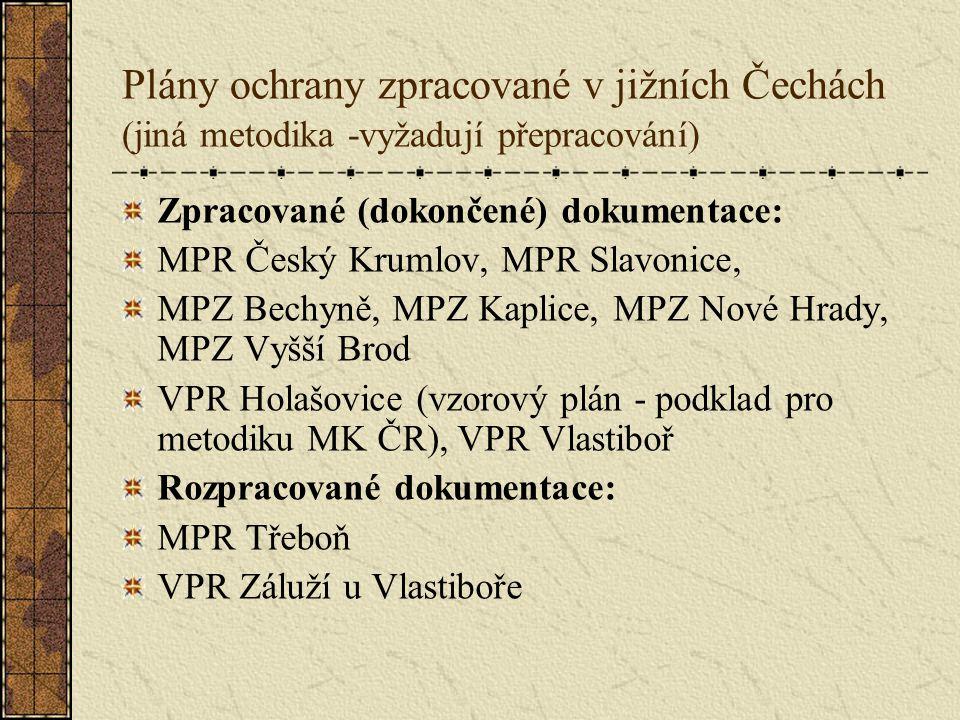 Plány ochrany zpracované v jižních Čechách (jiná metodika -vyžadují přepracování) Zpracované (dokončené) dokumentace: MPR Český Krumlov, MPR Slavonice, MPZ Bechyně, MPZ Kaplice, MPZ Nové Hrady, MPZ Vyšší Brod VPR Holašovice (vzorový plán - podklad pro metodiku MK ČR), VPR Vlastiboř Rozpracované dokumentace: MPR Třeboň VPR Záluží u Vlastiboře
