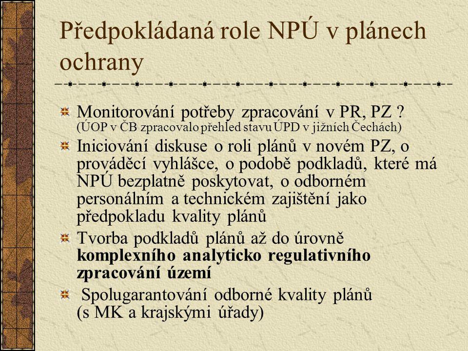 Předpokládaná role NPÚ v plánech ochrany Monitorování potřeby zpracování v PR, PZ .