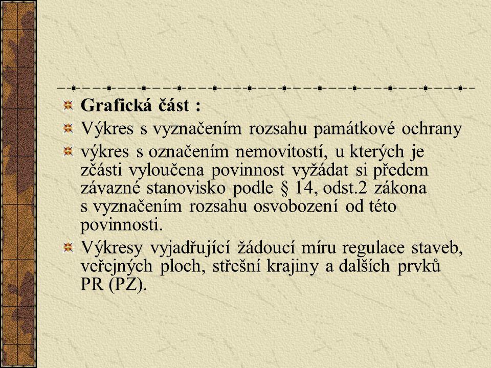 Grafická část : Výkres s vyznačením rozsahu památkové ochrany výkres s označením nemovitostí, u kterých je zčásti vyloučena povinnost vyžádat si předem závazné stanovisko podle § 14, odst.2 zákona s vyznačením rozsahu osvobození od této povinnosti.