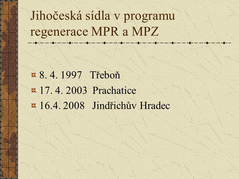 Jihočeská sídla v programu regenerace MPR a MPZ 8.