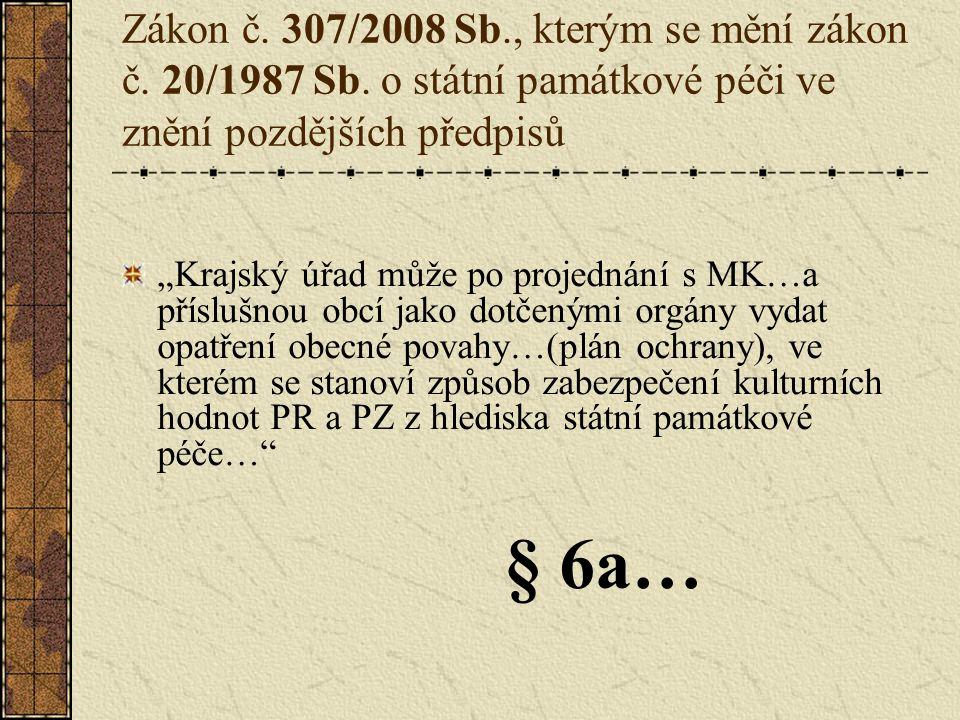 Zákon č.307/2008 Sb., kterým se mění zákon č. 20/1987 Sb.