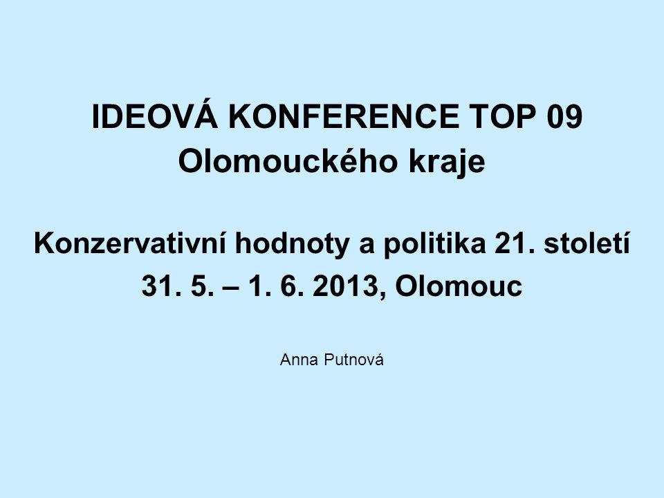IDEOVÁ KONFERENCE TOP 09 Olomouckého kraje Konzervativní hodnoty a politika 21.