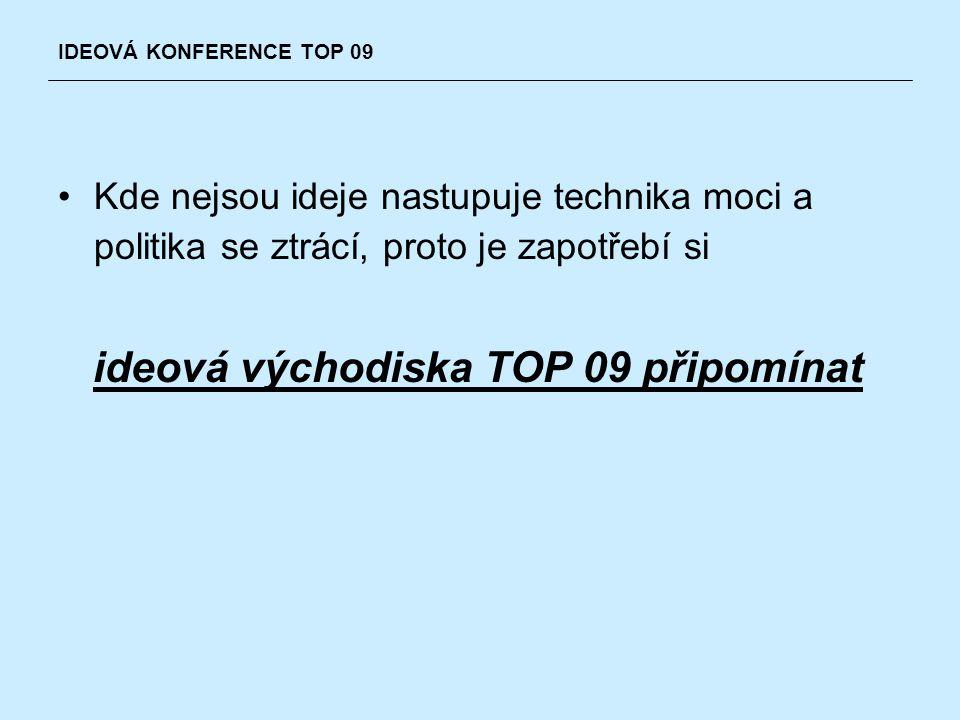 Kde nejsou ideje nastupuje technika moci a politika se ztrácí, proto je zapotřebí si ideová východiska TOP 09 připomínat IDEOVÁ KONFERENCE TOP 09