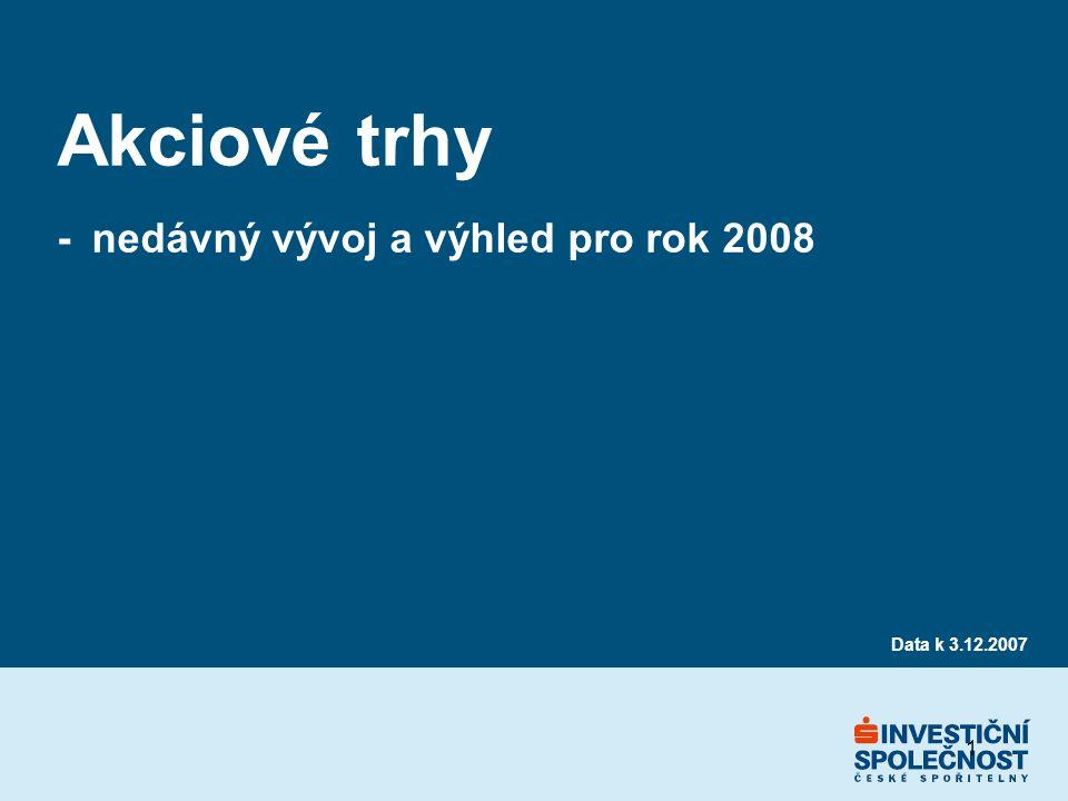 1 Akciové trhy - nedávný vývoj a výhled pro rok 2008 Data k 3.12.2007