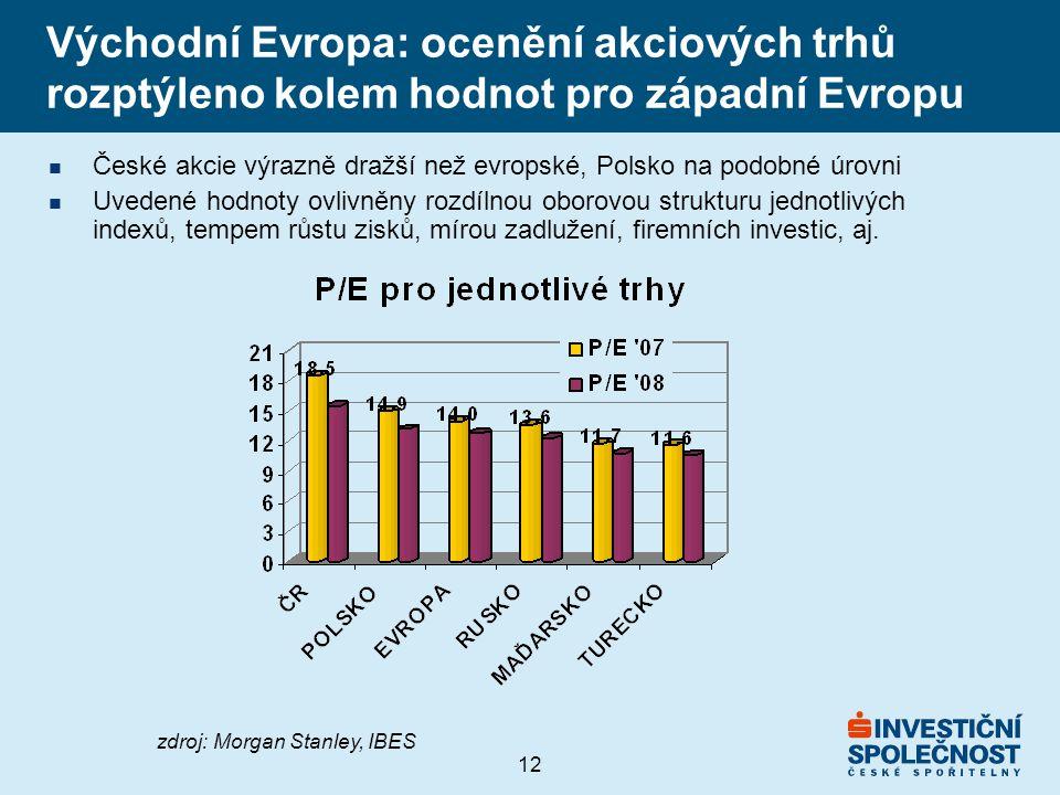 12 Východní Evropa: ocenění akciových trhů rozptýleno kolem hodnot pro západní Evropu n České akcie výrazně dražší než evropské, Polsko na podobné úrovni n Uvedené hodnoty ovlivněny rozdílnou oborovou strukturu jednotlivých indexů, tempem růstu zisků, mírou zadlužení, firemních investic, aj.