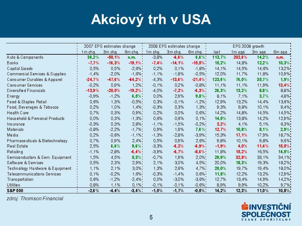 5 Akciový trh v USA zdroj: Thomson Financial