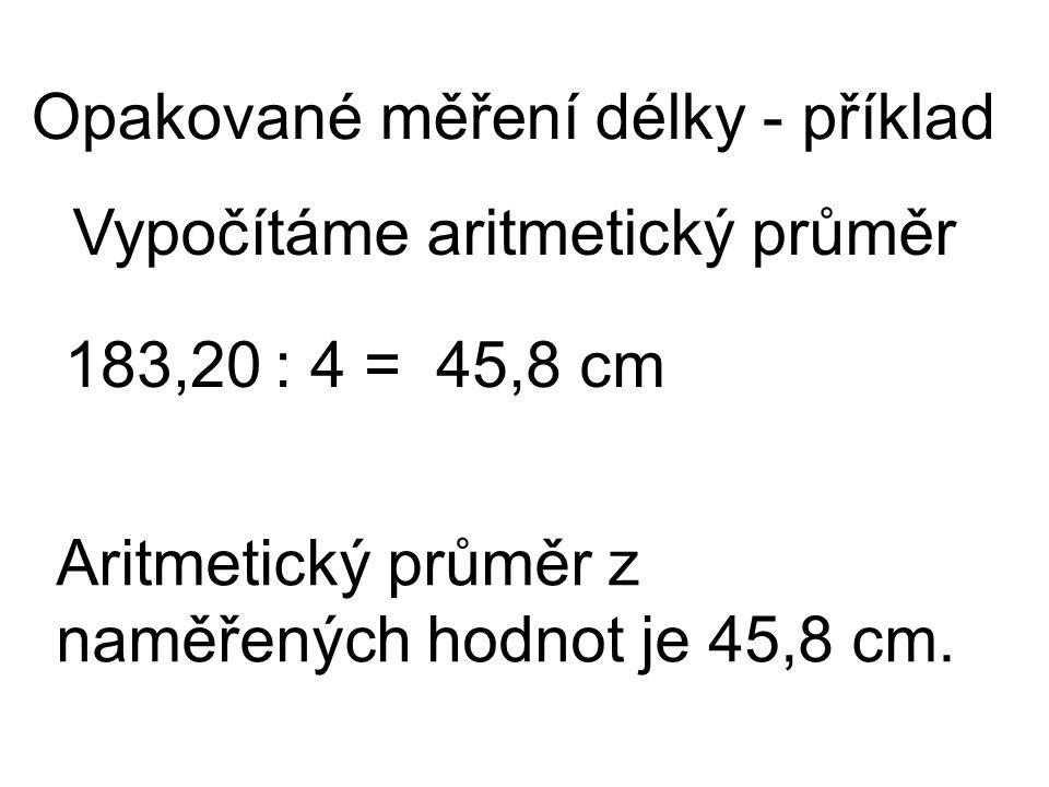 Vypočítáme aritmetický průměr Opakované měření délky - příklad 183,20: 4 =45,8 cm Aritmetický průměr z naměřených hodnot je 45,8 cm.