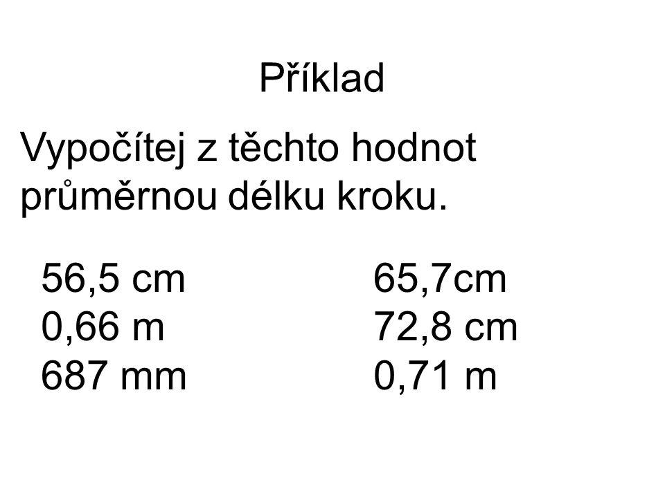 Příklad Vypočítej z těchto hodnot průměrnou délku kroku. 56,5 cm65,7cm 0,66 m72,8 cm 687 mm0,71 m