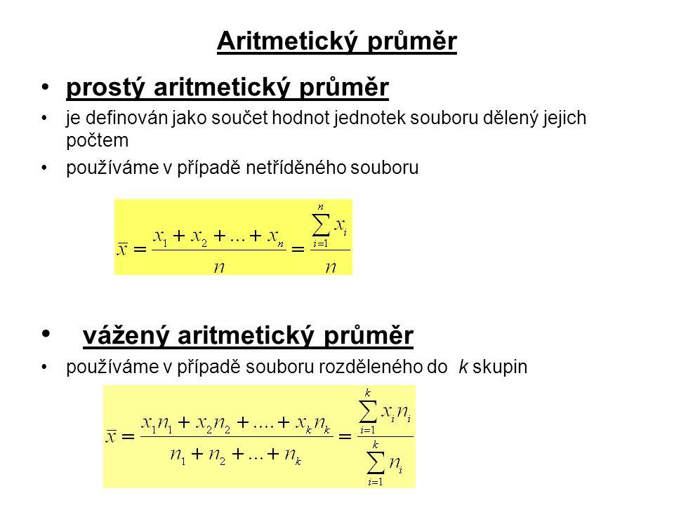 Aritmetický průměr prostý aritmetický průměr je definován jako součet hodnot jednotek souboru dělený jejich počtem používáme v případě netříděného sou