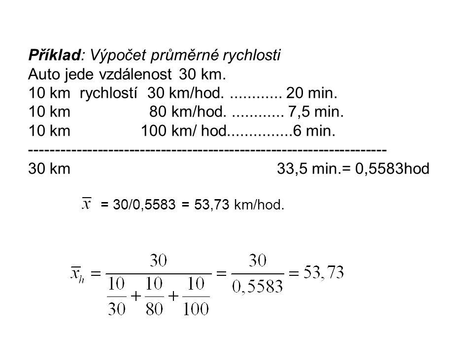 Příklad: Výpočet průměrné rychlosti Auto jede vzdálenost 30 km. 10 km rychlostí 30 km/hod............. 20 min. 10 km 80 km/hod............. 7,5 min. 1
