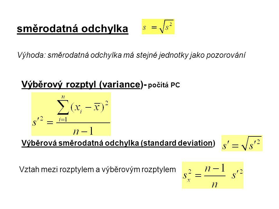 směrodatná odchylka Výhoda: směrodatná odchylka má stejné jednotky jako pozorování Výběrový rozptyl (variance)- počítá PC Výběrová směrodatná odchylka