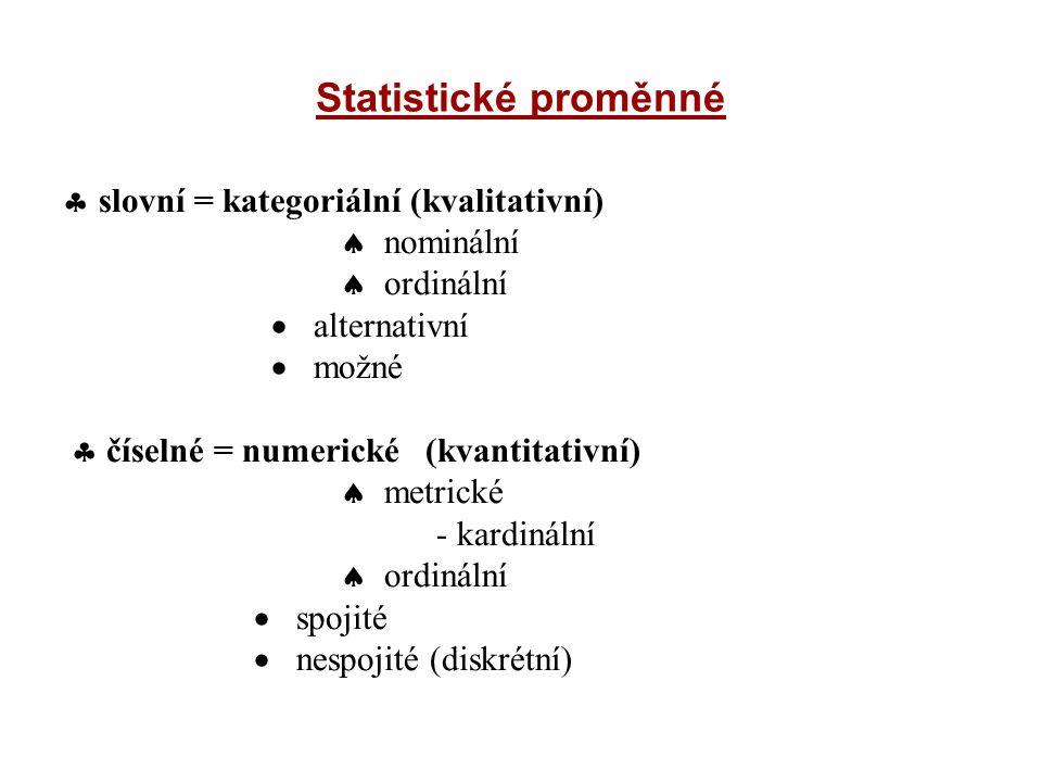 Statistické proměnné  slovní = kategoriální (kvalitativní)  nominální  ordinální  alternativní  možné  číselné = numerické (kvantitativní)  met