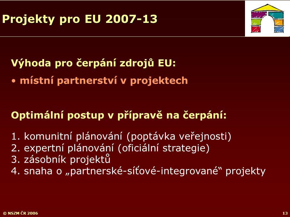 © NSZM ČR 200613 Výhoda pro čerpání zdrojů EU: místní partnerství v projektech Optimální postup v přípravě na čerpání: 1.