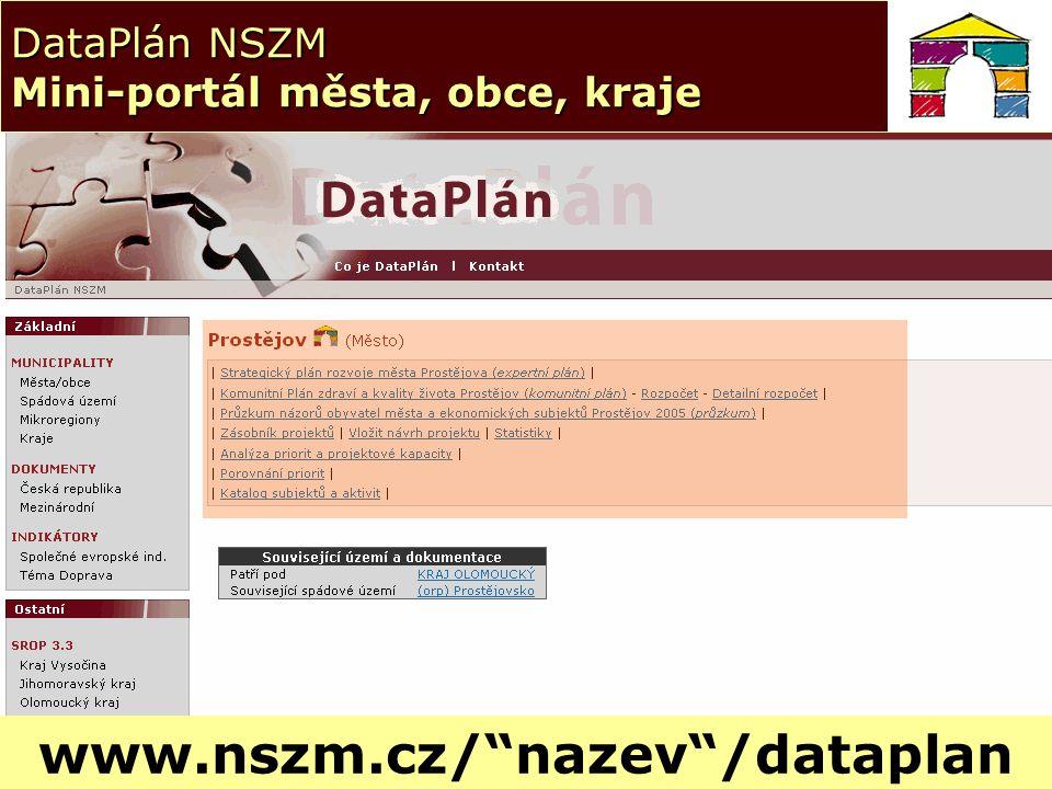 19 DataPlán NSZM Mini-portál města, obce, kraje www.nszm.cz/ nazev /dataplan
