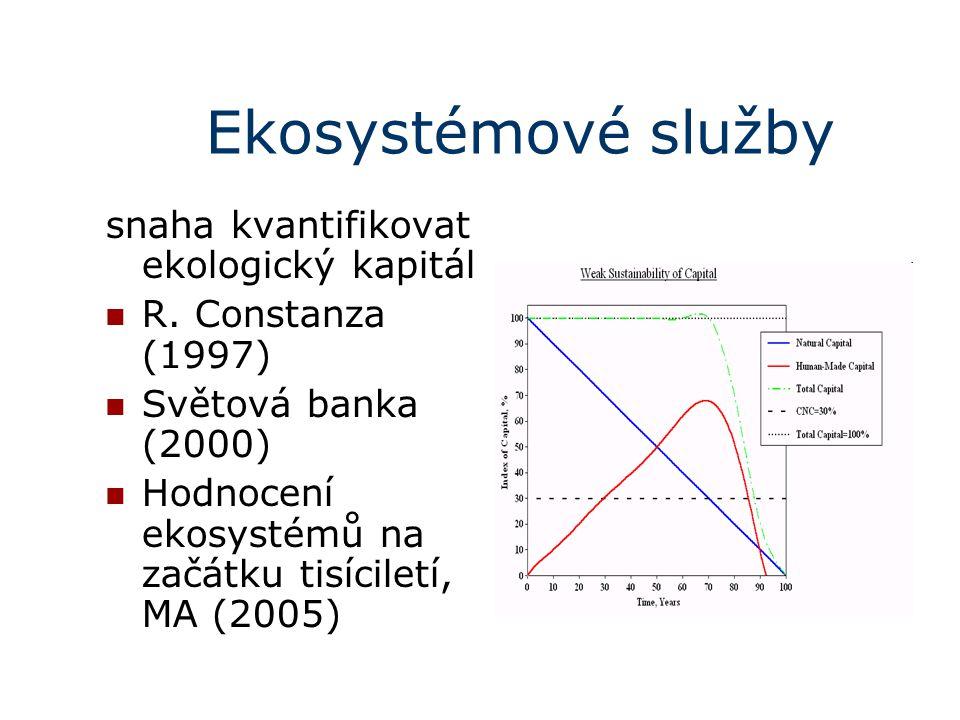 Ekosystémové služby snaha kvantifikovat ekologický kapitál R. Constanza (1997) Světová banka (2000) Hodnocení ekosystémů na začátku tisíciletí, MA (20