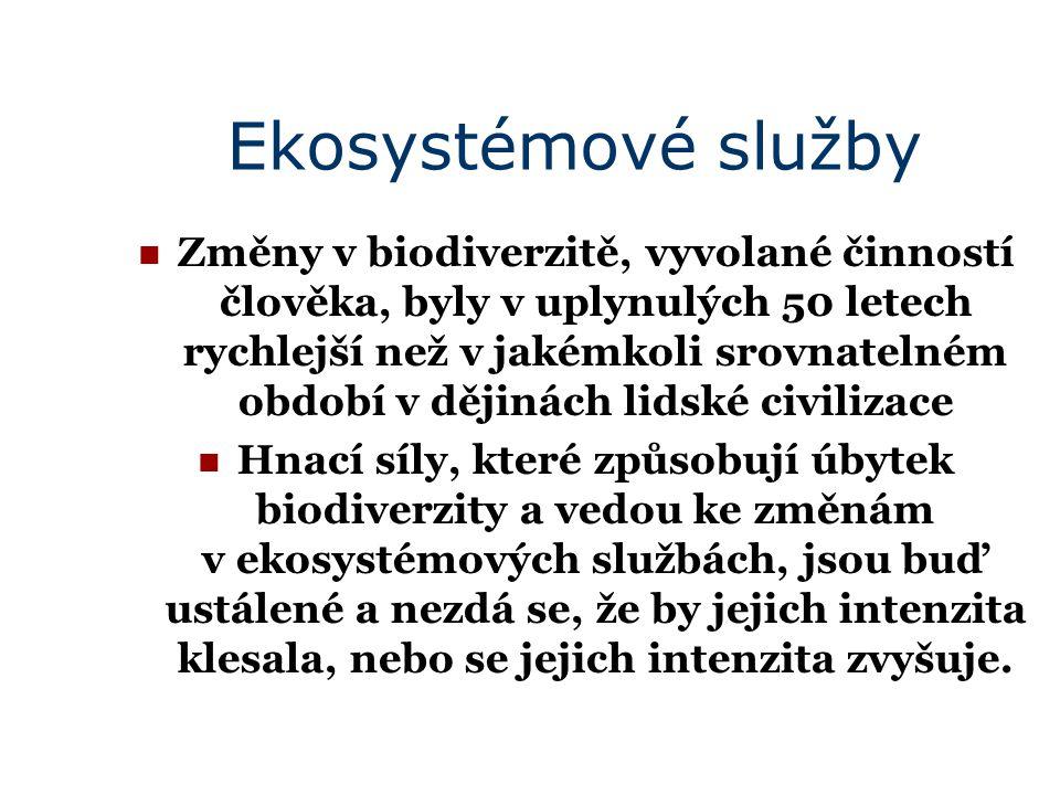 Ekosystémové služby Změny v biodiverzitě, vyvolané činností člověka, byly v uplynulých 50 letech rychlejší než v jakémkoli srovnatelném období v dějinách lidské civilizace Hnací síly, které způsobují úbytek biodiverzity a vedou ke změnám v ekosystémových službách, jsou buď ustálené a nezdá se, že by jejich intenzita klesala, nebo se jejich intenzita zvyšuje.