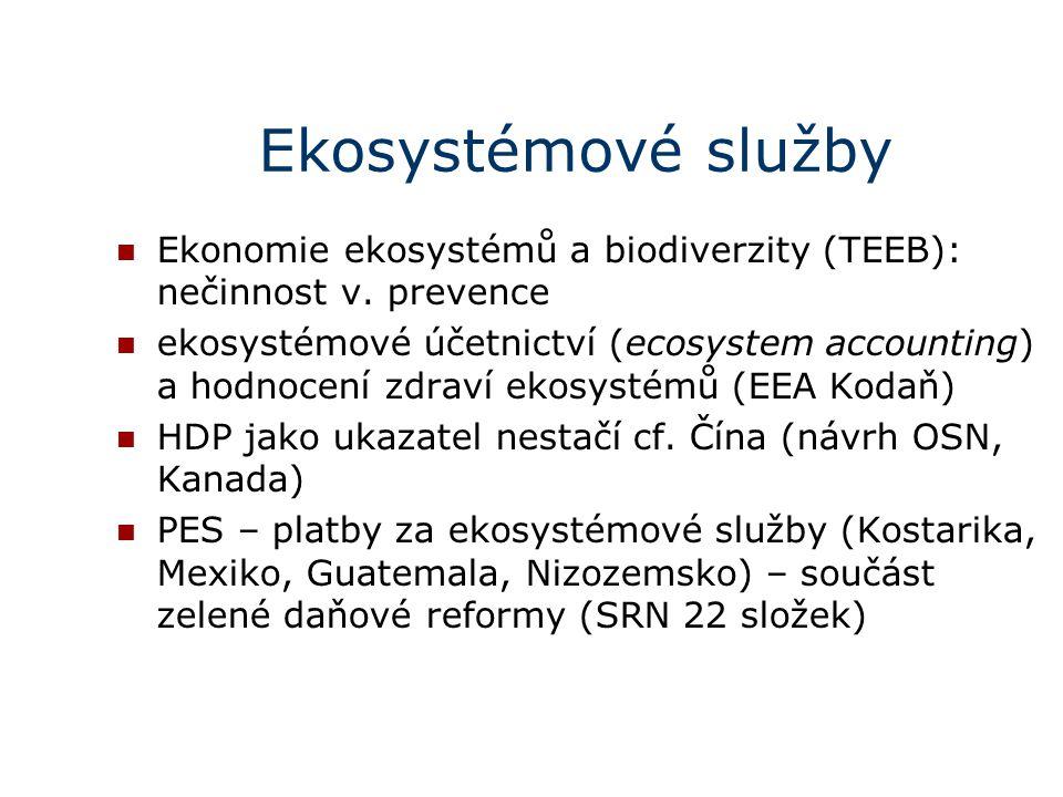 Ekosystémové služby Ekonomie ekosystémů a biodiverzity (TEEB): nečinnost v. prevence ekosystémové účetnictví (ecosystem accounting) a hodnocení zdraví
