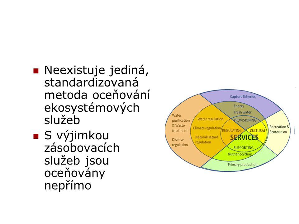 Neexistuje jediná, standardizovaná metoda oceňování ekosystémových služeb S výjimkou zásobovacích služeb jsou oceňovány nepřímo