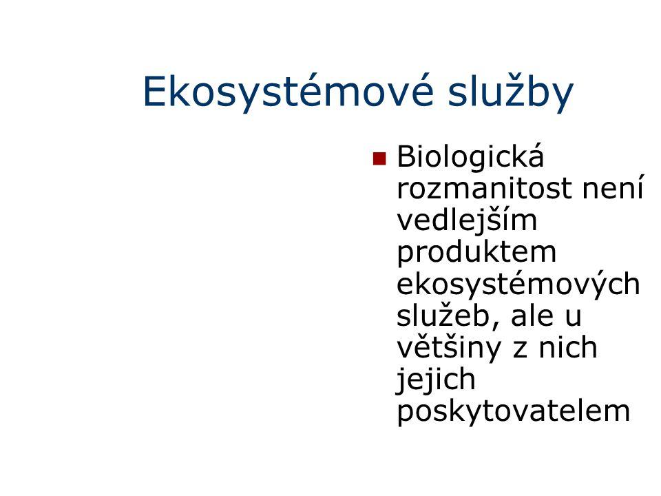 Ekosystémové služby Biologická rozmanitost není vedlejším produktem ekosystémových služeb, ale u většiny z nich jejich poskytovatelem