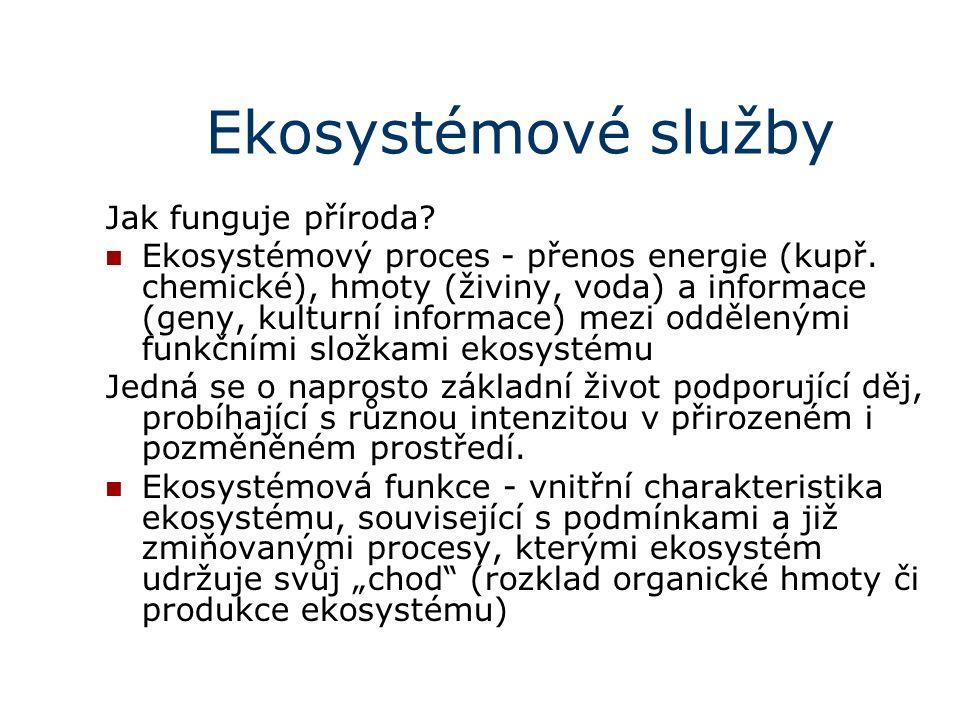 Ekosystémové služby Jak funguje příroda. Ekosystémový proces - přenos energie (kupř.