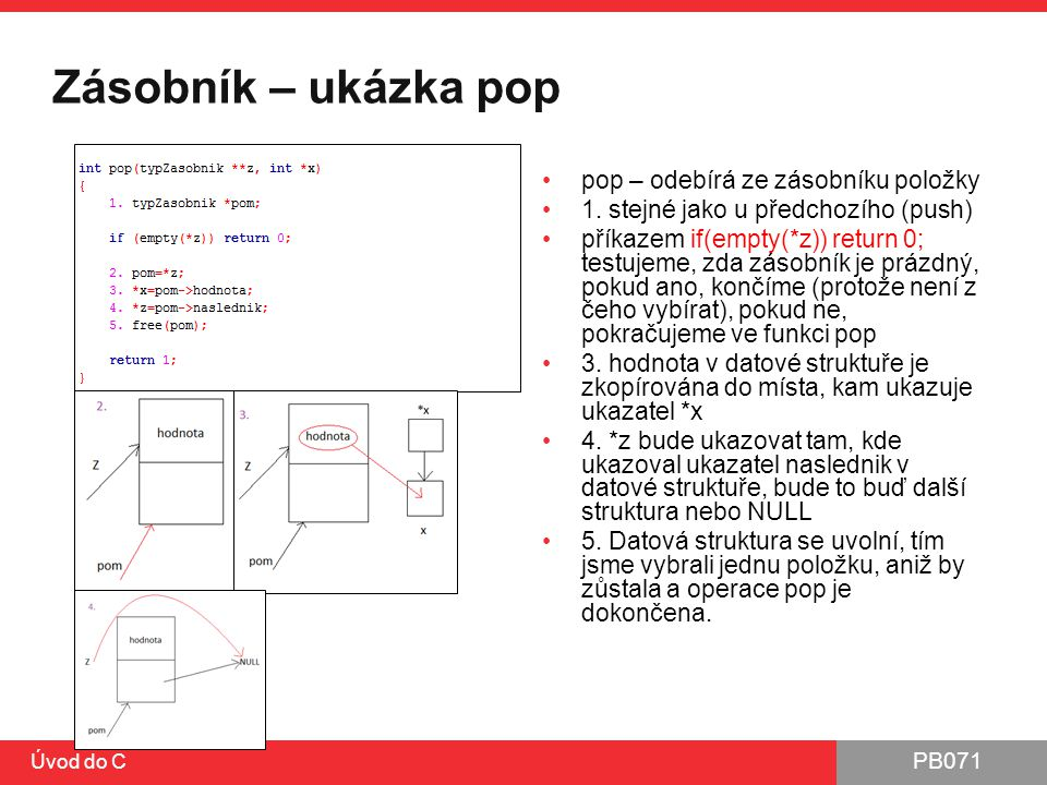 PB071 Zásobník – ukázka pop pop – odebírá ze zásobníku položky 1. stejné jako u předchozího (push) příkazem if(empty(*z)) return 0; testujeme, zda zás
