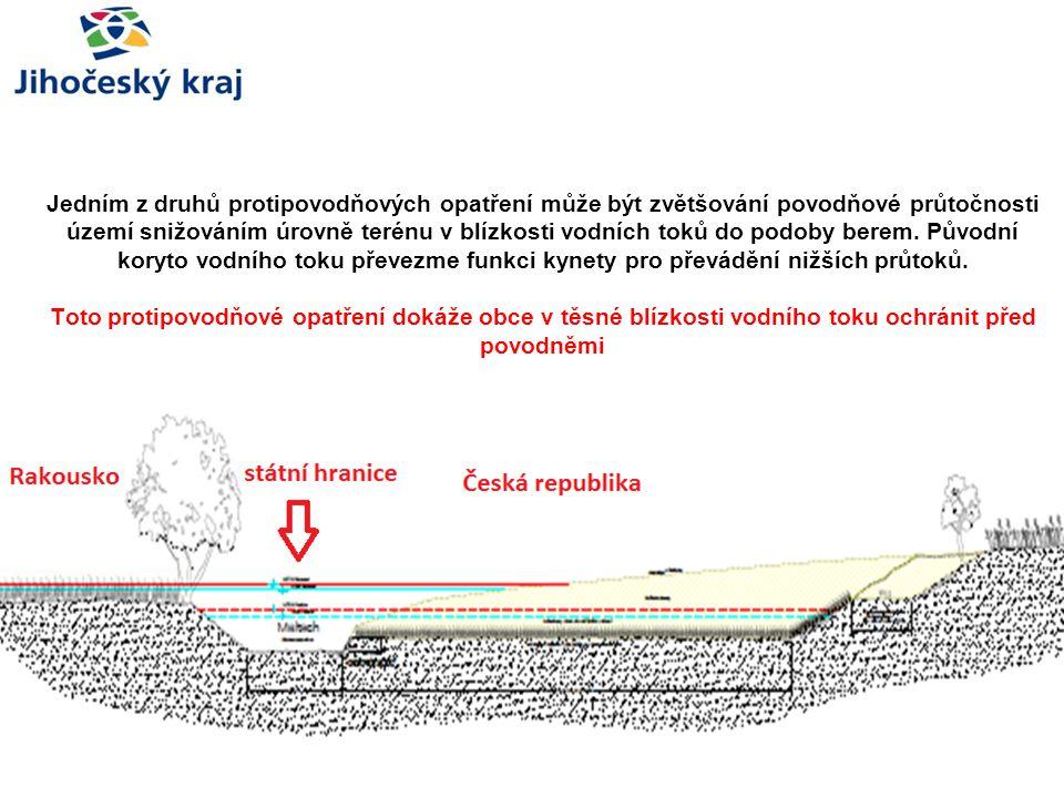 Jedním z druhů protipovodňových opatření může být zvětšování povodňové průtočnosti území snižováním úrovně terénu v blízkosti vodních toků do podoby b