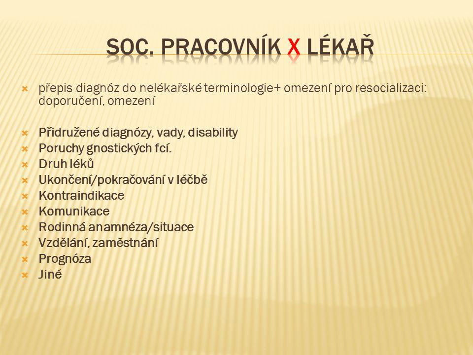  přepis diagnóz do nelékařské terminologie+ omezení pro resocializaci: doporučení, omezení  Přidružené diagnózy, vady, disability  Poruchy gnostick