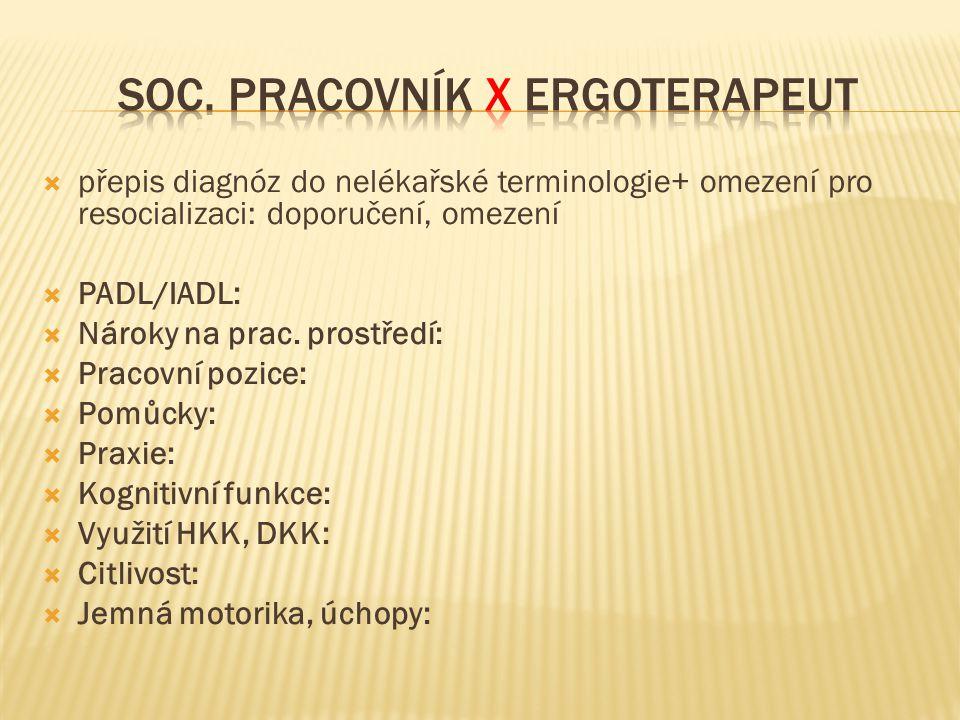  přepis diagnóz do nelékařské terminologie+ omezení pro resocializaci: doporučení, omezení  PADL/IADL:  Nároky na prac. prostředí:  Pracovní pozic