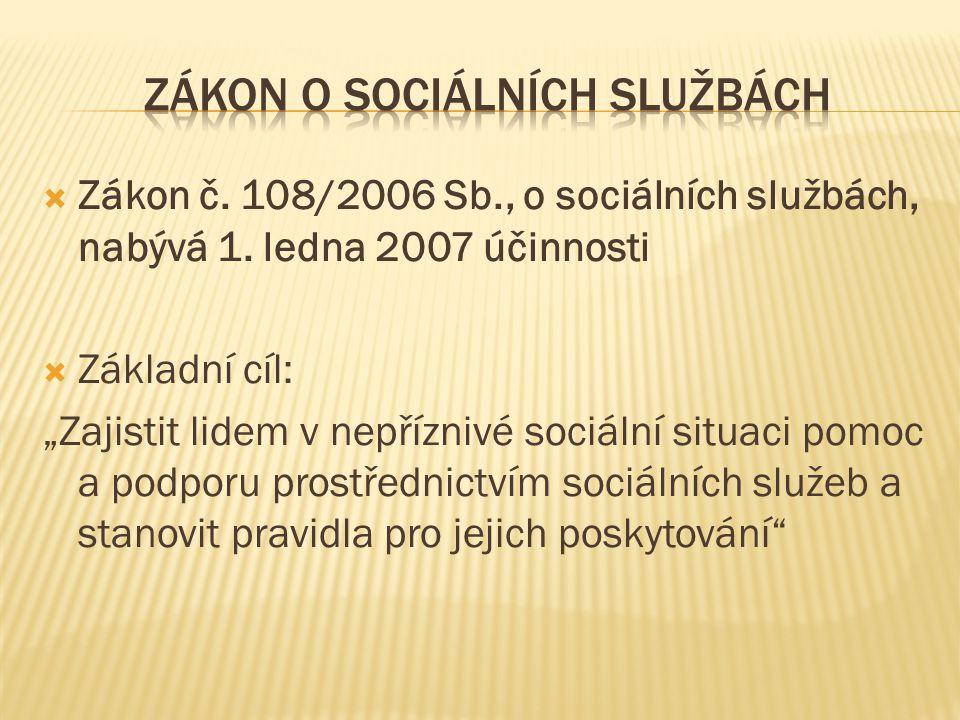 """ Zákon č. 108/2006 Sb., o sociálních službách, nabývá 1. ledna 2007 účinnosti  Základní cíl: """"Zajistit lidem v nepříznivé sociální situaci pomoc a p"""