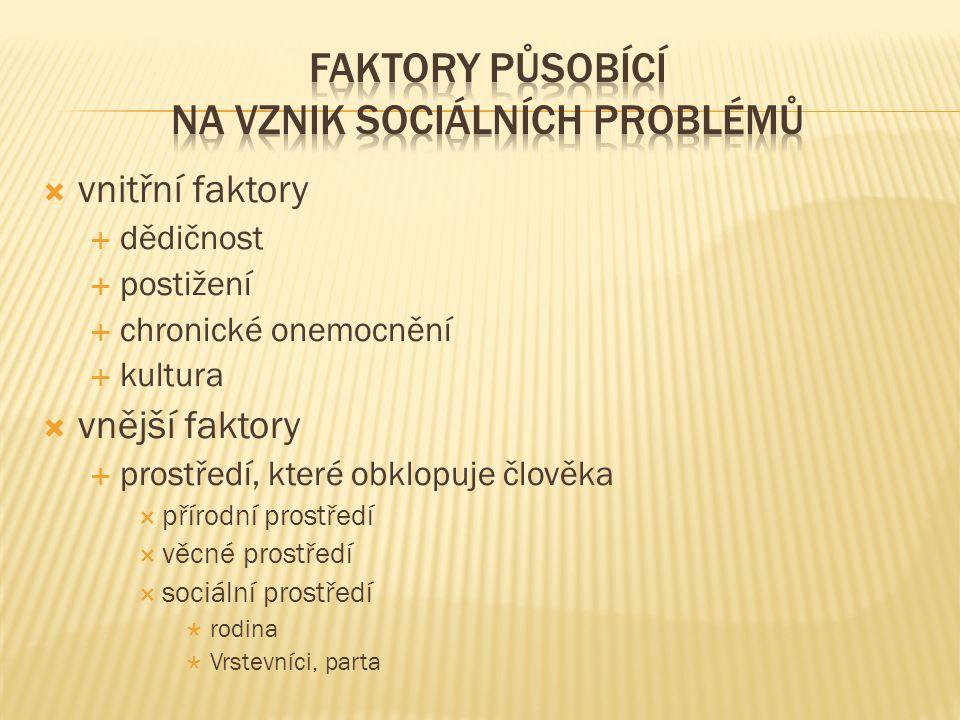  vnitřní faktory  dědičnost  postižení  chronické onemocnění  kultura  vnější faktory  prostředí, které obklopuje člověka  přírodní prostředí