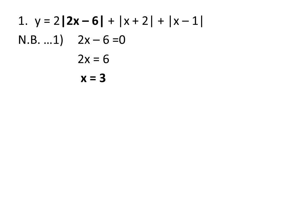 N.B. …1) 2x – 6 =0 2x = 6 x = 3
