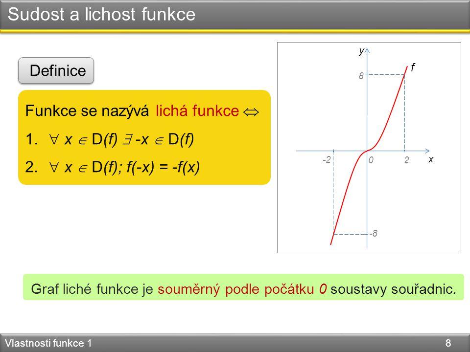 Sudost a lichost funkce Vlastnosti funkce 1 8 Funkce se nazývá lichá funkce  1.  x  D(f)  -x  D(f) 2.  x  D(f); f(-x) = -f(x) Definice Graf lic