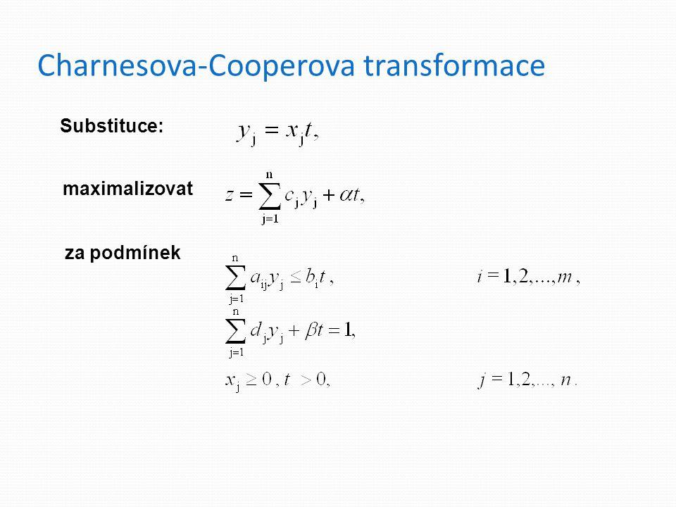 Charnesova-Cooperova transformace maximalizovat za podmínek Substituce: