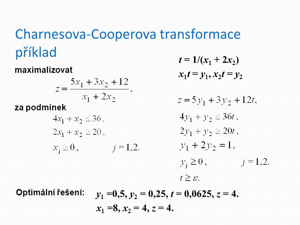Charnesova-Cooperova transformace příklad maximalizovat za podmínek t = 1/(x 1 + 2x 2 ) x 1 t = y 1, x 2 t = y 2 Optimální řešení: y 1 =0,5, y 2 = 0,25, t = 0,0625, z = 4.