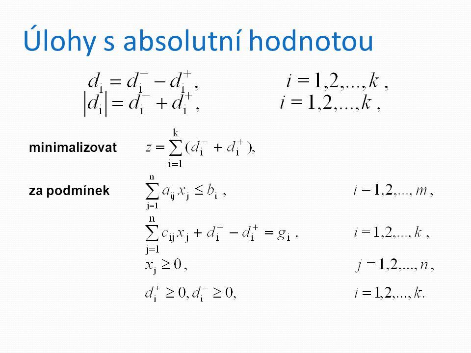 Úlohy s absolutní hodnotou regrese - MNČ y i = a + bx i + d i,i = 1, 2,…, k.