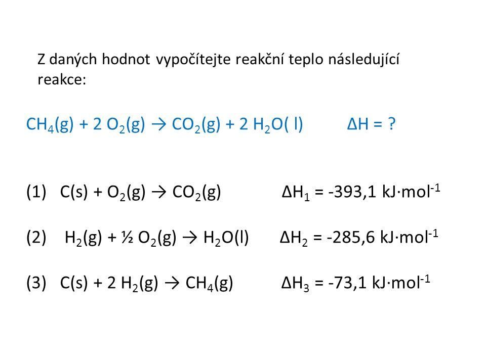 Z daných hodnot vypočítejte reakční teplo následující reakce: CH 4 (g) + 2 O 2 (g) → CO 2 (g) + 2 H 2 O( l) ΔH = .