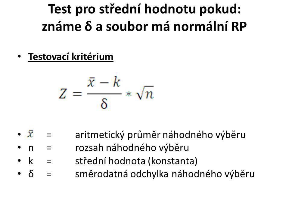 Test pro střední hodnotu pokud: známe δ a soubor má normální RP Testovací kritérium = aritmetický průměr náhodného výběru n= rozsah náhodného výběru k