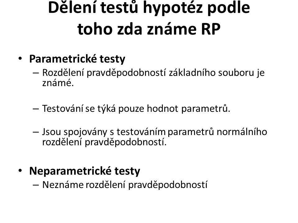 Dělení testů hypotéz podle toho zda známe RP Parametrické testy – Rozdělení pravděpodobností základního souboru je známé. – Testování se týká pouze ho