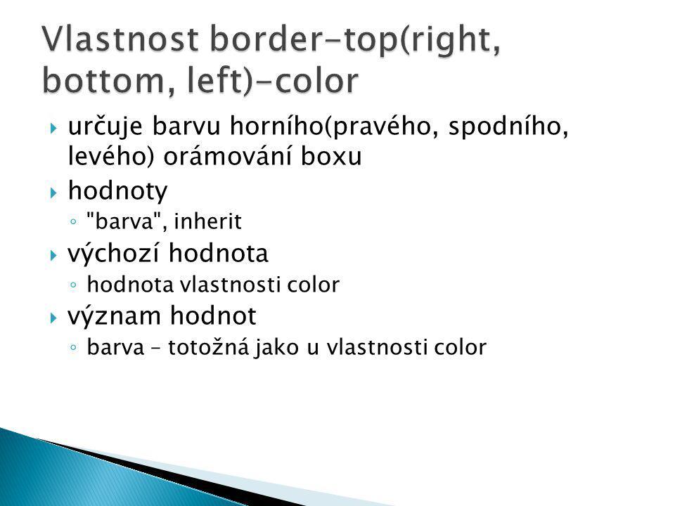  určuje barvu horního(pravého, spodního, levého) orámování boxu  hodnoty ◦ barva , inherit  výchozí hodnota ◦ hodnota vlastnosti color  význam hodnot ◦ barva – totožná jako u vlastnosti color