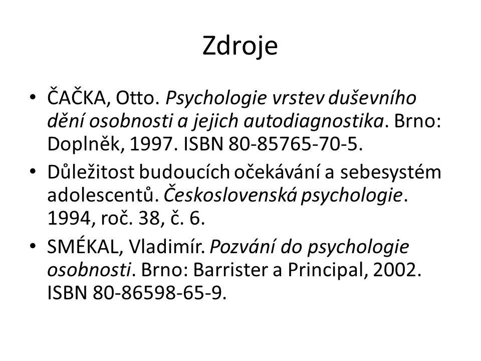 Zdroje ČAČKA, Otto. Psychologie vrstev duševního dění osobnosti a jejich autodiagnostika.