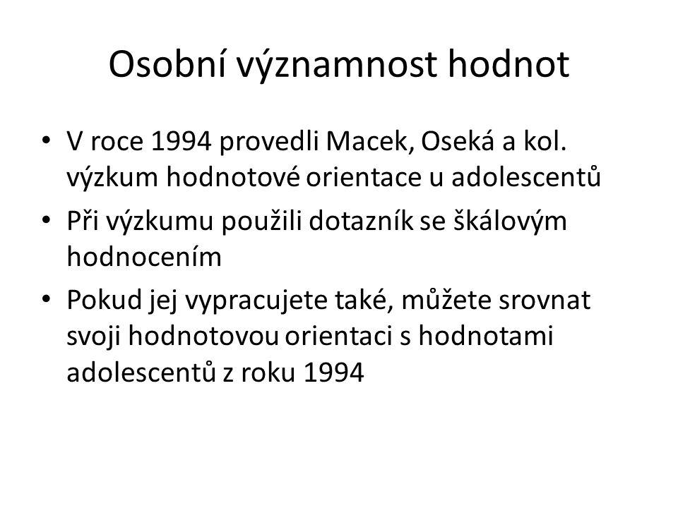Osobní významnost hodnot V roce 1994 provedli Macek, Oseká a kol.