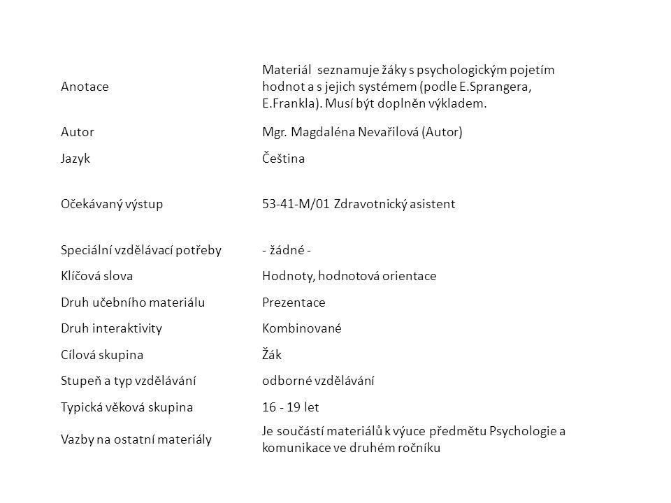 Anotace Materiál seznamuje žáky s psychologickým pojetím hodnot a s jejich systémem (podle E.Sprangera, E.Frankla).