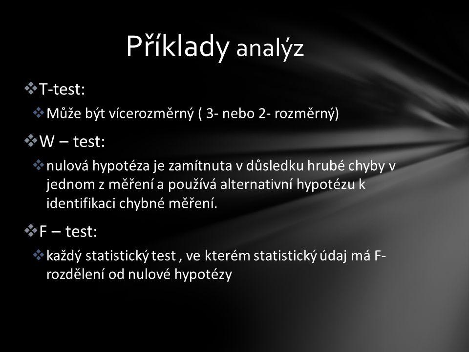  T-test:  Může být vícerozměrný ( 3- nebo 2- rozměrný)  W – test:  nulová hypotéza je zamítnuta v důsledku hrubé chyby v jednom z měření a používá alternativní hypotézu k identifikaci chybné měření.